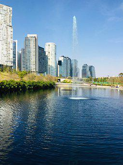 Source, Park, Buildings, Garden, Landscape, Pond, Sky