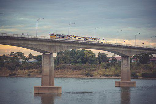 Thai, Laos, Bridge, Train On Bridg