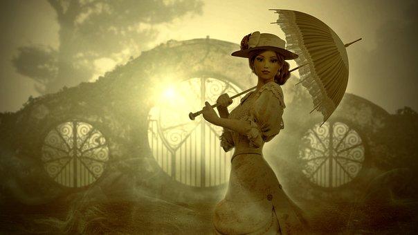 Fantasy, Sun, Woman, Screen, Light, Goal, Golden