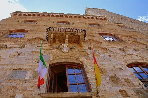 Height, Palazzo, Masonry, Stone, Flags, Saint Gimignano