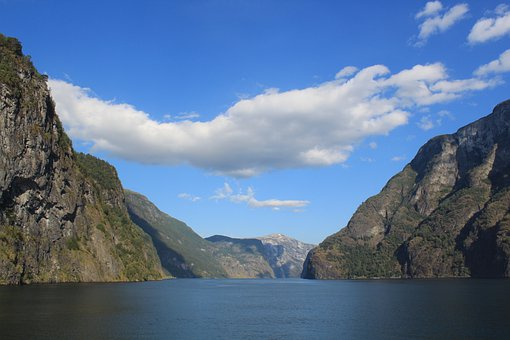 Water, Fjord, Clouds, Norway, Nature