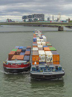 Ship, River, Water, Logistics, Container Ship, Rhine