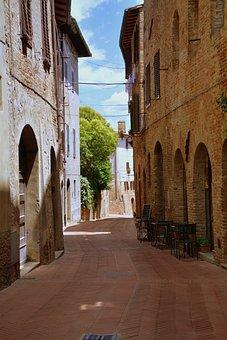 Alley, Borgo, Tight, Block, Via, Road, Saint Gimignano