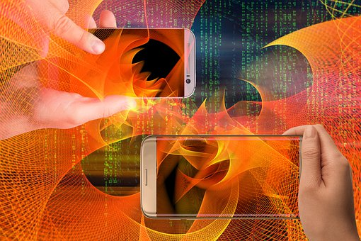Smartphone, Hands, Particles, Matrix, Communication