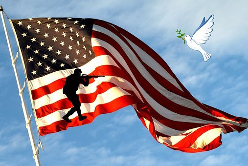 Peace, War, Flag, Dove, Soldier, Symbol, Usa, Patriotic