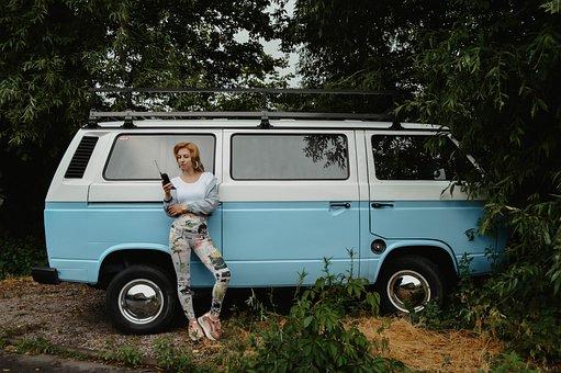 Volkswagen, Van, Girl, People, The Passenger, Retro