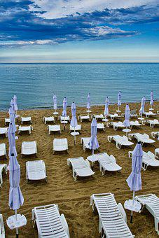 Tourism, Beach, Umbrellas, Paradise, Empty, Relaxation