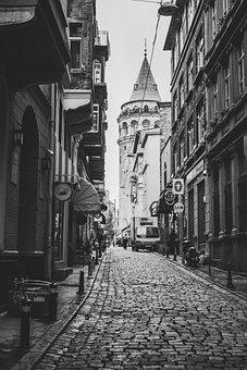 Street, Black And White, Galata Tower, Tower, Urban