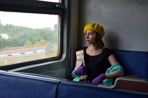 Railway Carriage, Passenger, Woman, Girl, Retro