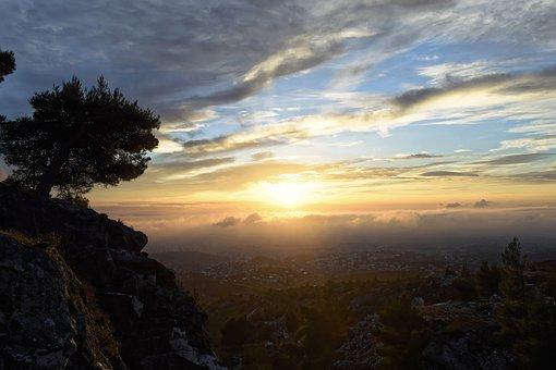 Sunset, Sun, Landscape, Sky, Forest