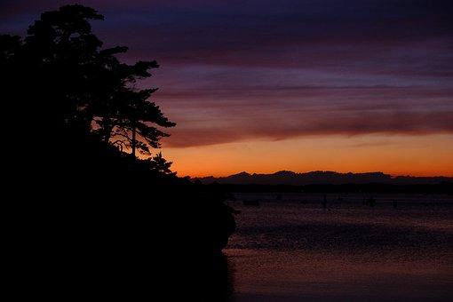 Sunset, Tranquil, Calm, Boat, Ocean
