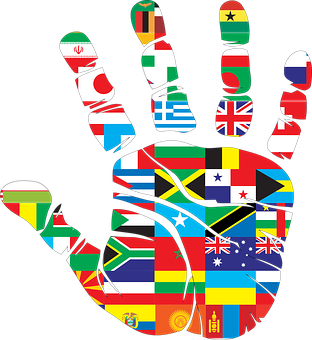 Flags, Hand, World, Handprint, Nations, Love