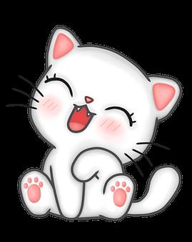 Kawaii, Cat, Kitten, Happy, Tamed