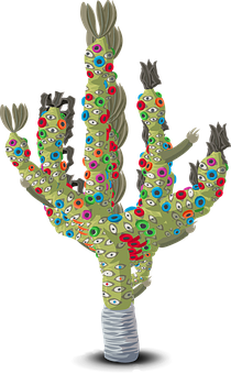Plant, Cactus, Colorful, Cartoon, Abstract, Mexico