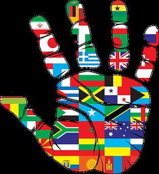 Flags, Hand, World, Handprint, Nations