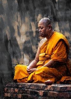 Buddhist, Monk, Sitting, Meditation, Zen