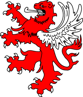 Lion, Red, Wings, Tongue, Asian