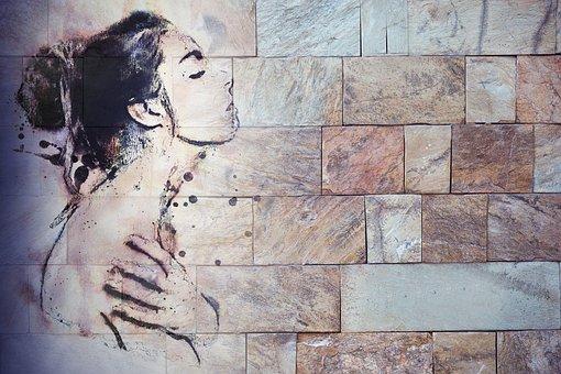 Wall, Drawing, Woman, Nude, Brick, Graffiti, Painting
