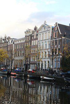 Amsterdam, Canal, House, Architecture, Reflection