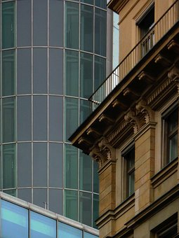 Old, New, Facades, Building, Offices, Frankfurt