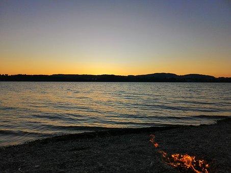 Fire, Sea, Forggensee, Lake, Water, Sunset, Idyllic