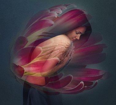 Woman, Nude, Flower, Photomontage, Art