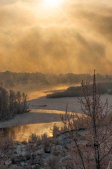 River, Landscape, Winter, Frost, Cold, Siberia, Russia