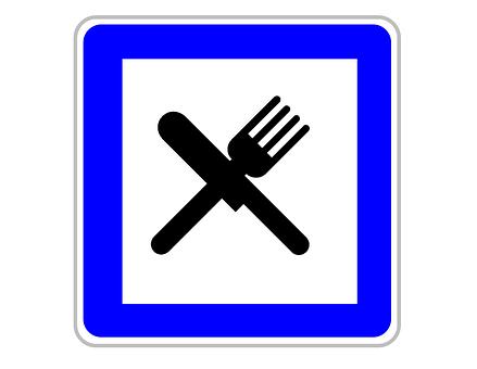 Restaurant, Sign, Icon, Road, Food, Fork, Knife
