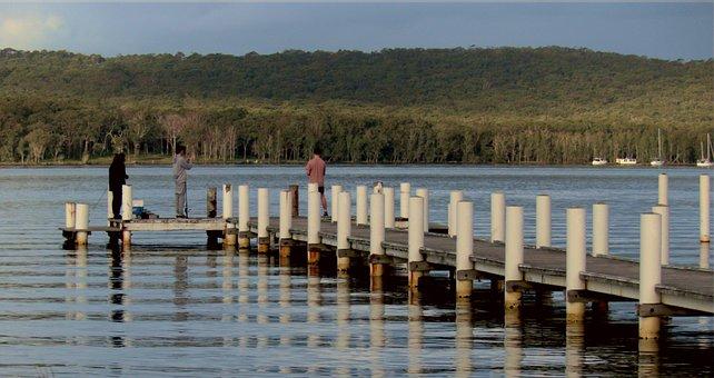 Pier, Fishing, Lake, Water, Dock, Calm, Landscape