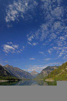 Plansee, Lake, Bergsee, Nature, Clouds, Sky, Background