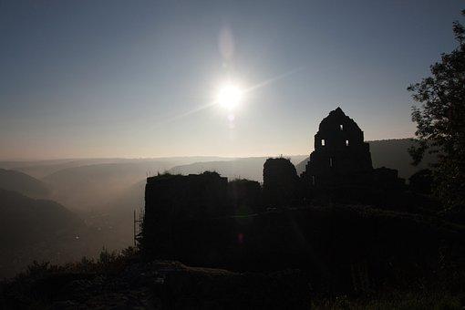 Ruin, Sunset, Sky, Landscape, Mood