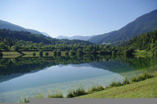 France, Rhône-alpes, Savoie, Mountain, Lake, Nature