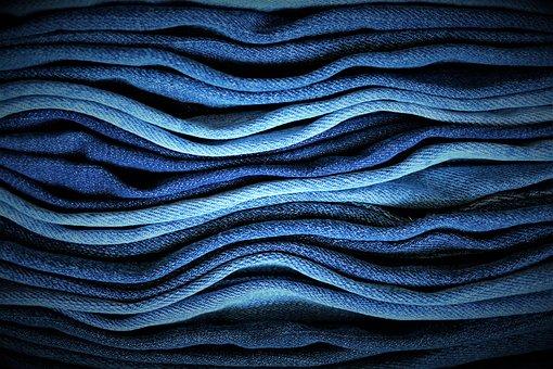 Jeans, Trouser Leg, Blue, Wave, Wavy, Ocean, Sea