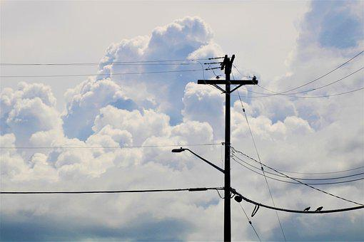 Power Lines, Clouds, High Voltage