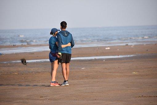 Couple, Young, Beach, Romantic