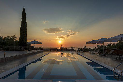 Sunset, Pool, Sea, Greece, Island, Hotel, Water, Sky