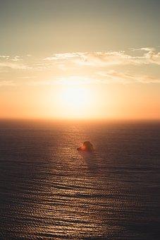 Horizon, Sunset, Rock, Sea, Cliff
