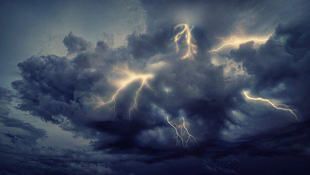 Thunderstorm, Flashes, Clouds, Forward, Sky, Nature