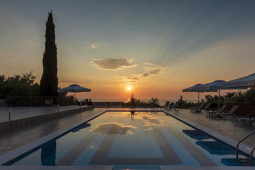 Sunset, Pool, Sea, Greece, Island, Hotel, Water, Sky