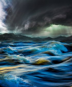 Nature, Waves, Sea, Ocean, Storm, Power, Fantasy, Blue