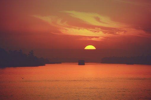 Sunset, River, Cruise, Cloud, Dusk, Sun, Orange