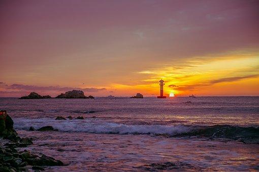 Sun, Horizon, Sunrise, Nature, Sea, Beach, Solar, Waves