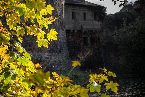 Castle, Hülchrath, Leaves, Tree, Autumn, Landscape