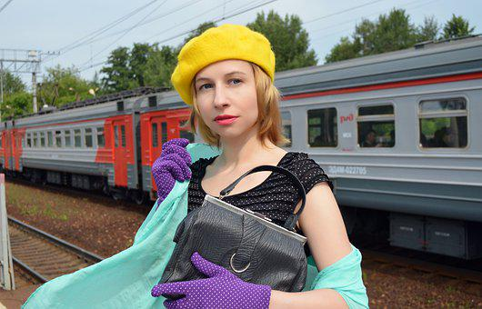 Train, Girl, Vintage, Railway, Retro, Suitcase, Dress