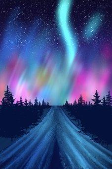 Aurora Borealis, Night, Nature, Landscape, Phenomenon