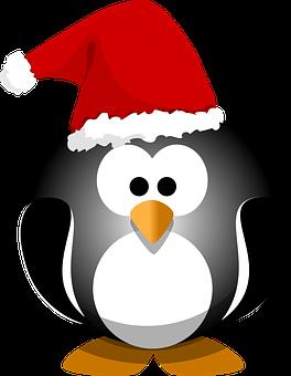 Penguin, Black, Bird, Hat, Christmas