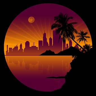 Night, Coconut Tree, Building, Nature, Vintage