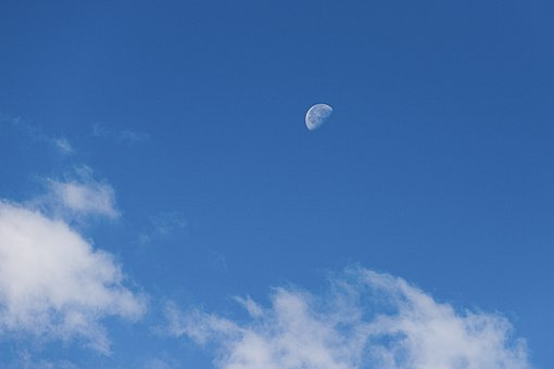 Moon, Day, Blue, Sky, Clouds