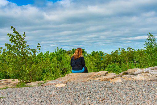 Nature, Woman, Sitting, Alone, Clouds, Woods, Outdoor