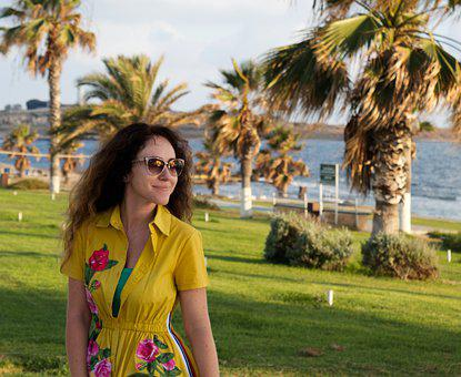 Woman, Beach, Dress, Yellow Palm Trees, Curly Hair